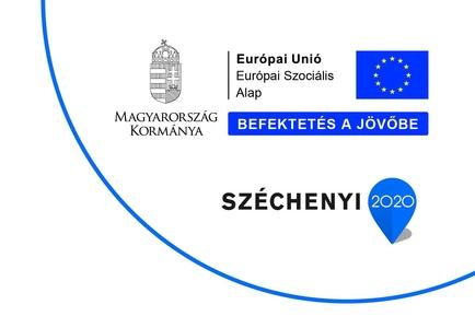 A pályázat által kötelezően megjelenítendő információs blokk. Az információs blokk tartalmazza Magyarország címerét az Európai Únió és a Széchenyi 2020 pályázat logoját.
